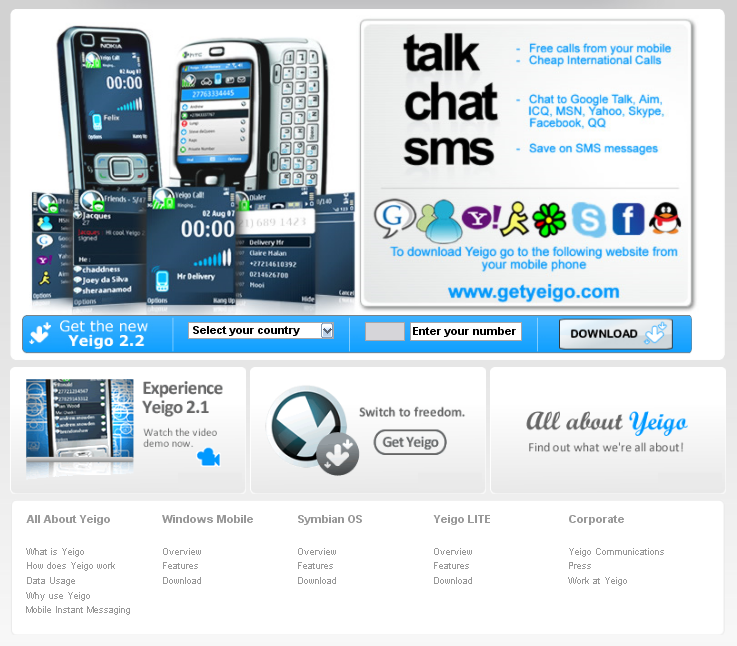 yeigo mobile chat application